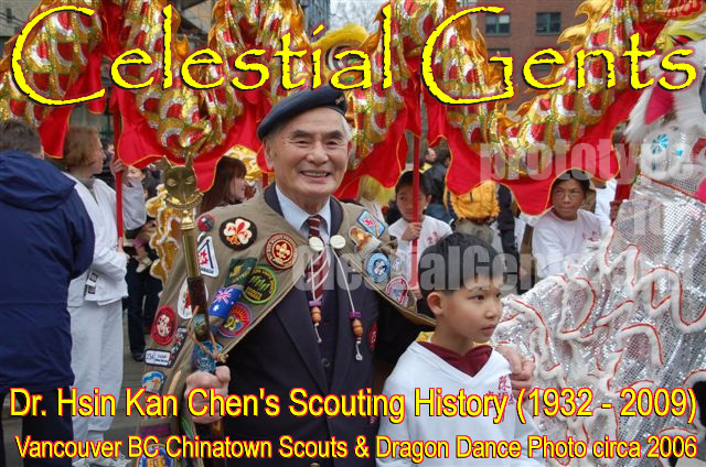 Dr. Kan Chen, reknowed Scout Troop leader and supporter in MetroVancouver BC 50 years of history, this photo is him with his cloak of badges in Vancouver Chinatown during a Dragon Dance , see figure in the background